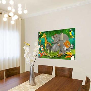 Bilder Kinderzimmer Tiere Wandbild 120 x 80 cm Vlies - Leinwand Bild XXL Format Wandbilder Wohnung Deko Kunstdrucke - MADE IN GERMANY - Fertig zum Aufhängen 001831a - 4