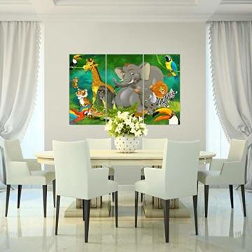 Bilder Kinderzimmer Tiere Wandbild 120 x 80 cm Vlies - Leinwand Bild XXL Format Wandbilder Wohnung Deko Kunstdrucke - MADE IN GERMANY - Fertig zum Aufhängen 001831a - 5