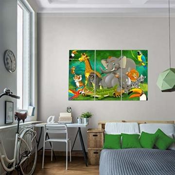 Bilder Kinderzimmer Tiere Wandbild 120 x 80 cm Vlies - Leinwand Bild XXL Format Wandbilder Wohnung Deko Kunstdrucke - MADE IN GERMANY - Fertig zum Aufhängen 001831a - 6