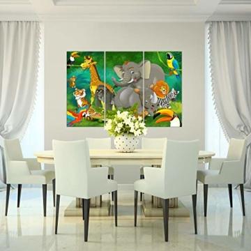 Bilder Kinderzimmer Tiere Wandbild 120 x 80 cm Vlies - Leinwand Bild XXL Format Wandbilder Wohnung Deko Kunstdrucke - MADE IN GERMANY - Fertig zum Aufhängen 001831a - 7