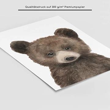 Frechdax® 3er-Set Bilder Kinderzimmer Deko Junge Mädchen - DIN A4 Poster Tiere - Wandbilder - Porträt | Waldtiere Safari Afrika Tiere Porträt (3er Set Bär, REH, Eichhörnchen) - 2