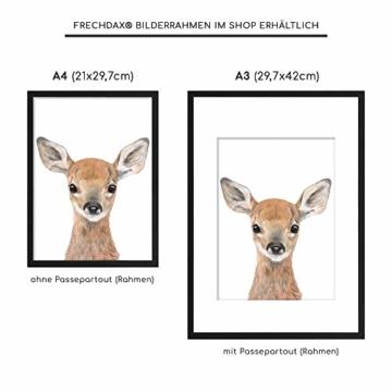 Frechdax® 3er-Set Bilder Kinderzimmer Deko Junge Mädchen - DIN A4 Poster Tiere - Wandbilder - Porträt | Waldtiere Safari Afrika Tiere Porträt (3er Set Bär, REH, Eichhörnchen) - 4