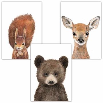 Frechdax® 3er-Set Bilder Kinderzimmer Deko Junge Mädchen - DIN A4 Poster Tiere - Wandbilder - Porträt | Waldtiere Safari Afrika Tiere Porträt (3er Set Bär, REH, Eichhörnchen) - 1