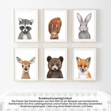 Frechdax® 3er-Set Bilder Kinderzimmer Deko Junge Mädchen - DIN A4 Poster Tiere - Wandbilder - Porträt | Waldtiere Safari Afrika Tiere Porträt (3er Set Bär, REH, Eichhörnchen) - 5
