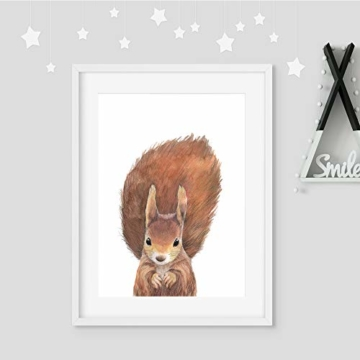 Frechdax® 3er-Set Bilder Kinderzimmer Deko Junge Mädchen - DIN A4 Poster Tiere - Wandbilder - Porträt | Waldtiere Safari Afrika Tiere Porträt (3er Set Bär, REH, Eichhörnchen) - 6