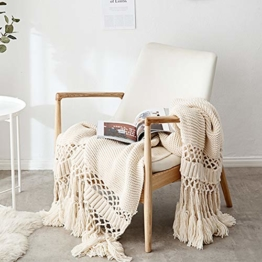 Gestrickte Decke mit Quaste Beige für Nap auf dem Stuhl Sofa und Bet, Weich und Warm Kuscheldecke, Handgemachte Strickdecke, Wohndecke für Wohnzimmer/ Büro, 120 x180cm - 1