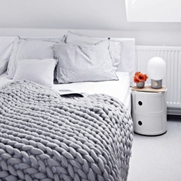 Here&There Rain Queen Decke Handgefertigt Riese Klobig Sticken Werfen Sofa Decke Handgewebt Sperrig Decke Zuhause Dekor Geschenk (120 * 150CM, Grau) - 1