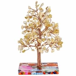 KYEYGWO Citrine Heilung Kristallbaum auf Achat Scheiben Base, Kupferdraht Geldbaum Feng Shui Bonsai Baum Deko Figuren für Glück, Reichtum und Gesundheit - 1