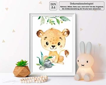LALELU-Prints | A4 Bilder Kinderzimmer Deko Mädchen Junge | Zauberhafte Dschungel-Tiere | Poster Babyzimmer | 6er Set Kinderbilder (DIN A4 ohne Rahmen) - 2