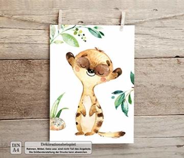 LALELU-Prints | A4 Bilder Kinderzimmer Deko Mädchen Junge | Zauberhafte Dschungel-Tiere | Poster Babyzimmer | 6er Set Kinderbilder (DIN A4 ohne Rahmen) - 3
