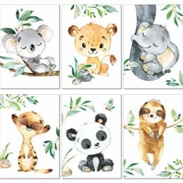 LALELU-Prints | A4 Bilder Kinderzimmer Deko Mädchen Junge | Zauberhafte Dschungel-Tiere | Poster Babyzimmer | 6er Set Kinderbilder (DIN A4 ohne Rahmen) - 1
