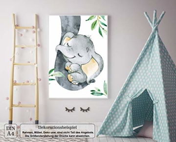 LALELU-Prints | A4 Bilder Kinderzimmer Deko Mädchen Junge | Zauberhafte Dschungel-Tiere | Poster Babyzimmer | 6er Set Kinderbilder (DIN A4 ohne Rahmen) - 4