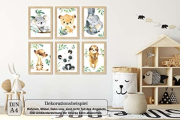 LALELU-Prints | A4 Bilder Kinderzimmer Deko Mädchen Junge | Zauberhafte Dschungel-Tiere | Poster Babyzimmer | 6er Set Kinderbilder (DIN A4 ohne Rahmen) - 5