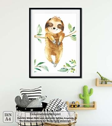 LALELU-Prints | A4 Bilder Kinderzimmer Deko Mädchen Junge | Zauberhafte Dschungel-Tiere | Poster Babyzimmer | 6er Set Kinderbilder (DIN A4 ohne Rahmen) - 6
