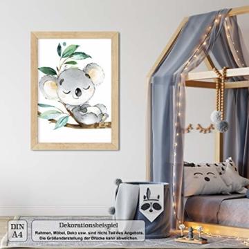 LALELU-Prints | A4 Bilder Kinderzimmer Deko Mädchen Junge | Zauberhafte Dschungel-Tiere | Poster Babyzimmer | 6er Set Kinderbilder (DIN A4 ohne Rahmen) - 7