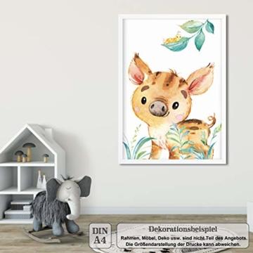 LALELU-Prints | A4 Bilder Kinderzimmer Deko Mädchen Junge | Zauberhafte Wald-Tiere | Poster Babyzimmer | 6er Set Kinderbilder (DIN A4 ohne Rahmen) - 2