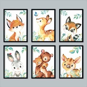LALELU-Prints | A4 Bilder Kinderzimmer Deko Mädchen Junge | Zauberhafte Wald-Tiere | Poster Babyzimmer | 6er Set Kinderbilder (DIN A4 ohne Rahmen) - 3