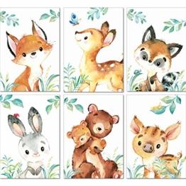 LALELU-Prints | A4 Bilder Kinderzimmer Deko Mädchen Junge | Zauberhafte Wald-Tiere | Poster Babyzimmer | 6er Set Kinderbilder (DIN A4 ohne Rahmen) - 1