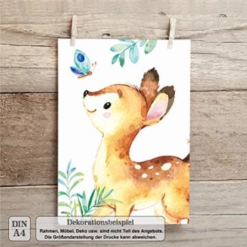 LALELU-Prints | A4 Bilder Kinderzimmer Deko Mädchen Junge | Zauberhafte Wald-Tiere | Poster Babyzimmer | 6er Set Kinderbilder (DIN A4 ohne Rahmen) - 4