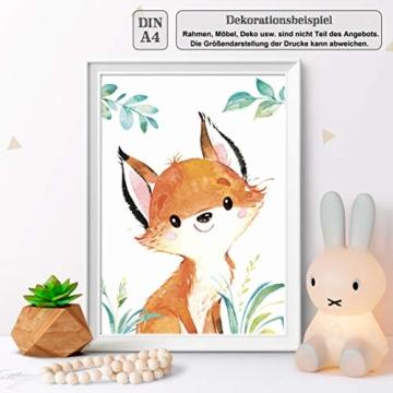 LALELU-Prints | A4 Bilder Kinderzimmer Deko Mädchen Junge | Zauberhafte Wald-Tiere | Poster Babyzimmer | 6er Set Kinderbilder (DIN A4 ohne Rahmen) - 5