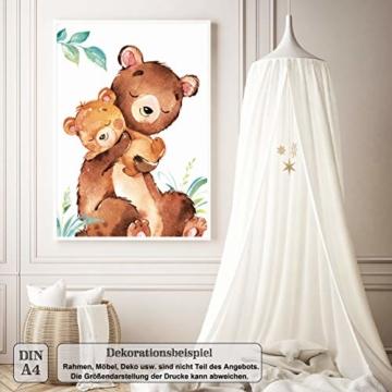 LALELU-Prints | A4 Bilder Kinderzimmer Deko Mädchen Junge | Zauberhafte Wald-Tiere | Poster Babyzimmer | 6er Set Kinderbilder (DIN A4 ohne Rahmen) - 6
