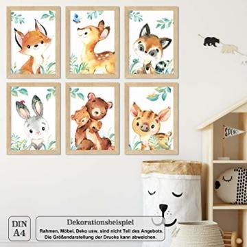 LALELU-Prints | A4 Bilder Kinderzimmer Deko Mädchen Junge | Zauberhafte Wald-Tiere | Poster Babyzimmer | 6er Set Kinderbilder (DIN A4 ohne Rahmen) - 7