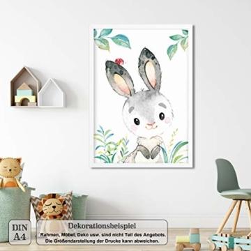 LALELU-Prints | A4 Bilder Kinderzimmer Deko Mädchen Junge | Zauberhafte Wald-Tiere | Poster Babyzimmer | 6er Set Kinderbilder (DIN A4 ohne Rahmen) - 8