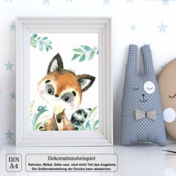 LALELU-Prints | A4 Bilder Kinderzimmer Deko Mädchen Junge | Zauberhafte Wald-Tiere | Poster Babyzimmer | 6er Set Kinderbilder (DIN A4 ohne Rahmen) - 9