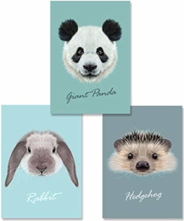 MiaLu® Poster Kinderzimmer Tiere - 3er Set Bilder Babyzimmer Deko für Junge Mädchen (Panda-Bär, Igel, Hase) DIN A4 - 1
