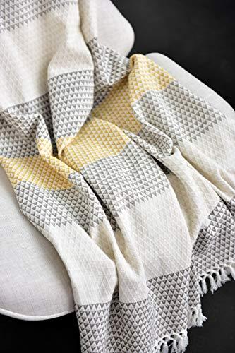 Nielsen Wohndecke Plaid Dana, 150x200 cm, Weiß (Weiss) Braun Gelb (senfgelb), Gemustert, Boho, Baumwolle, gemütliche Decke, Couchdecke, Sofadecke, Schlafdecke, Picknickdecke, Tagesdecke - 3