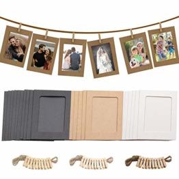 30 Stücke Papier Bilderrahmen 10*15cm, Fotorahmen Papier 6x4 in Zum Aufhängen, mit Mini-Holzklammern und Hanfseilen, Wanddeko DIY Kreative für DIYGeburtstag / Hochzeit / Jubiläum / Festival - 1