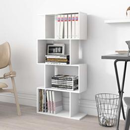 4 Ebenen Bücherregal Regal Weiß Holz Modern Zeitgenössisch Raumteiler Standregal Büroregal Wohnzimmer - 1