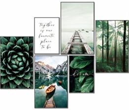 artpin® Moderne Poster Set Natur- Bilder Wohnzimmer Deko Schlafzimmer - Wanddeko Ohne Bilderrahmen Collagen - Wald Holz Grün 4x A4 | 2x A5 W8 - 1