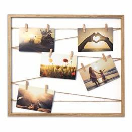 Cheers UG Bilderrahmen aus Holz 50 x 43 x 2,5 cm, Fotowand zum Anbringen von Fotos, Postkarten UVM, Fotorahmen/Collage mit Stabiler Rückwand, inkl. Naturseil & 10 Klammern - 1