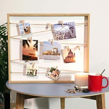 Cheers UG Bilderrahmen aus Holz 50 x 43 x 2,5 cm, Fotowand zum Anbringen von Fotos, Postkarten UVM, Fotorahmen/Collage mit Stabiler Rückwand, inkl. Naturseil & 10 Klammern - 5