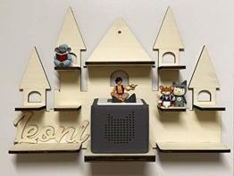 DIY Regal Schloss für die Musikbox passend für Toniebox Kinder Baby Zimmer zum selbst bemalen mit Wunschname tolles individuelles Geschenk Geburtstag - 1