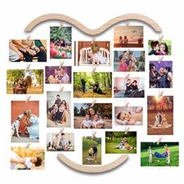 EASTERNSTAR Bilderrahmen Collagen, Bilderrahmen für Mehrere Bilder Holzbilderrahmen mit 30 Kleinen Holzklammern zur Wanddekoration Foto Bilder Postkarten Memo - 1