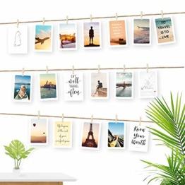 Ecooe Fotoseil für Kreative und Schöne Dekoration DIY Bilderrahmen Wanddekoration 3 Meter Fotoleine mit 30 Mini-Holz-Klammern und 10 spurlosen Nägeln Fotoaufhängung - 1
