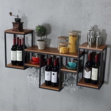 FENGFAN Weinregal mit Glashalter Rack-Wand Retro hängende Weinregal, Eisen, Holz Regal Kreative Restaurant Dekorative Weinklimaschrank (Size : 106x42x20cm) - 3