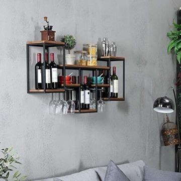 FENGFAN Weinregal mit Glashalter Rack-Wand Retro hängende Weinregal, Eisen, Holz Regal Kreative Restaurant Dekorative Weinklimaschrank (Size : 106x42x20cm) - 4