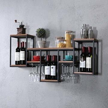 FENGFAN Weinregal mit Glashalter Rack-Wand Retro hängende Weinregal, Eisen, Holz Regal Kreative Restaurant Dekorative Weinklimaschrank (Size : 106x42x20cm) - 1