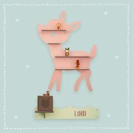 """Kinder Regal""""Rehkitz"""" passend für die Toniebox und ca. 30 Tonie Figuren – Wandregal für Kinder-Musikbox personalisiert mit Namen Aufbewahrung Hörspiele Musik Musikboxregal Reh hellomini - 1"""