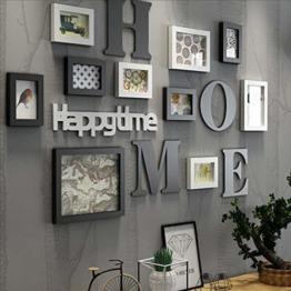 LONG Bilderrahmen Collage Massivholz Kombination Wohnzimmer-Foto-Rahmen-Wand kreatives Restaurant Hintergrund Wanddekoration (Farbe : Schwarz) - 1