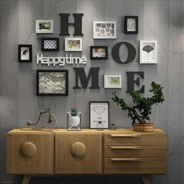 LONG Bilderrahmen Collage Massivholz Kombination Wohnzimmer-Foto-Rahmen-Wand kreatives Restaurant Hintergrund Wanddekoration (Farbe : Schwarz) - 4