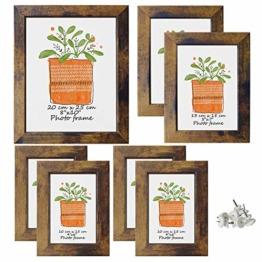 PETAFLOP 7er Set Rustikal Vintage Bilderrahmen EIN 20x25 DREI 13x18 DREI 10x15, Holz Optik mit Glasscheibe - 1