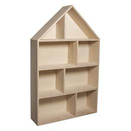 Rayher 62611000 Holz-Setzkasten Haus, zum Aufhängen, 30 x 50 x 8 cm, 8 Abteilungen, natur - 1
