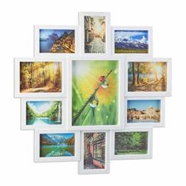 Relaxdays Bilderrahmen Collage, Bildergalerie für 11 Fotos, Fotorahmen zum Aufhängen, für mehrere Fotos, weiß - 1