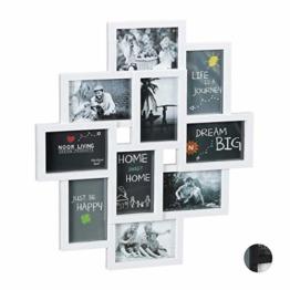 Relaxdays Bilderrahmen Collagen, für 10 Bilder, Hoch-oder Querformat, Wand Kunststoffrahmen, H x B 55 x 50 cm, weiß - 1