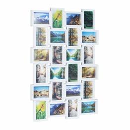 Relaxdays Bilderrahmen für 24 Fotos, 10 x 15, Fotorahmen zum Hängen, Fotocollage gestalten, HBT: 59 x 86 x 2,5 cm, weiß, Plastik, 87 x 60.5 x 3 cm - 1