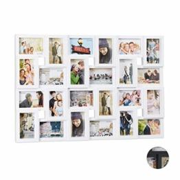 Relaxdays XXL Bilderrahmen Collagen für 24 Bilder in 10 x 15, Hoch- oder Querformat, Kunststoff, HxB 57 x 86 cm, weiß - 1
